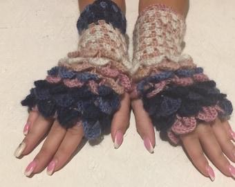 Fingerless Gloves women fingerless gloves Dragon Scale women's gloves women's Arm Warmers winter gift Accessory