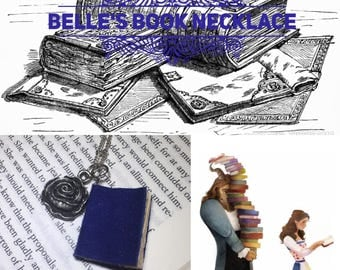 Beauty and the Beast Belle's Book and Rose Necklace