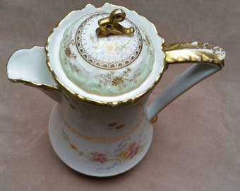Antique Limoges (France) Porcelain Coffee or Chocolate Pot. Laviolette. Elite.  Raised Gold Flowers and Hand Painted Roses.