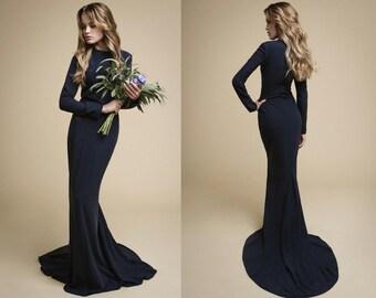 ANADA  dark blue dress, evening dress with sleeves dark wedding dress long boho bridesmaid dress long mermaid silhouette dress Raw/Wild Silk