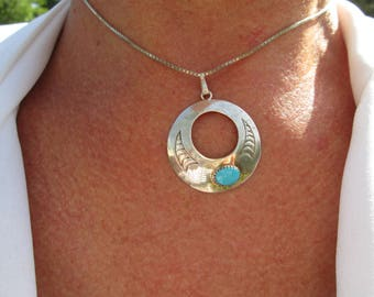 Native American Turquoise and Sterling Silver Pendant and Necklace