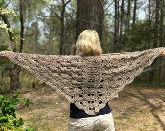Crochet Shawl Triangle Scarf Wrap Beige