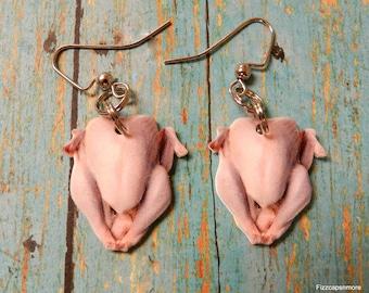 Raw Turkey Dangle Fish Hook Earrings Perfect Novelty Gift Jewelry Thanksgiving Turkey Lover