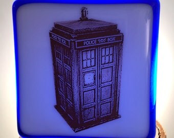 Doctor Who Inspired Tardis Fused Glass Night Light