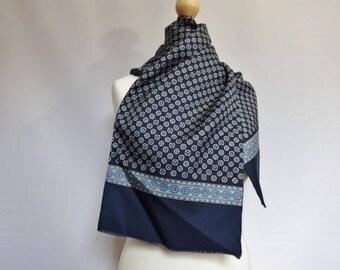 """Vintage Mens Mod scarf blue grey 28cm x 122cm / 11"""" x 48"""""""