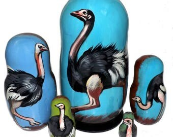 Ostrich on Five Russian Nesting Dolls. Wild Life.