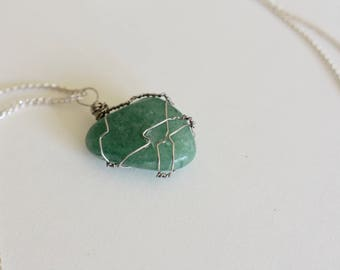 Green Aventurine Crystal Wire Wrapped Pendant
