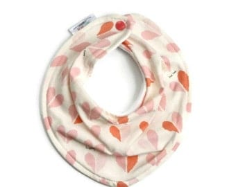 Valentine's day bib, baby bandana bib, baby bib, bandana bib, scarf bib, baby girl bib, drool bib, baby girl gift, pink heart bib,