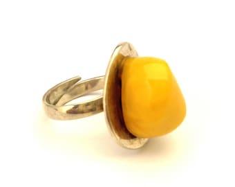 Amber Baltic Ring Genuine 9.09 Gr Vintage Egg Yolk Color Silver 925