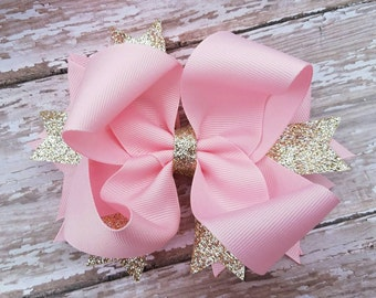 Light Pink and Gold OTT Hairbow - Birthday Hair Bow - Valentine Hairbows - Easter Glitter Hair Bows - Light Lite Boutique Baby to Big Girl