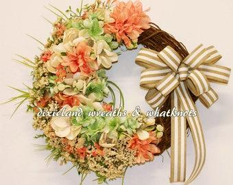 Floral Wreath, Floral Grapevine. Flower Wreath, Spring Wreath, Summer Wreath, Front Door Wreath, Floral Grapevine Wreath