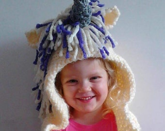 Unicorn hooded scarf , ages 2-10 yrs