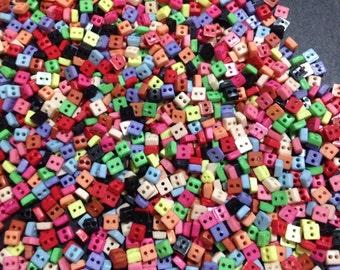 Tiny Square Button 6mm - 100pcs wholesale lot