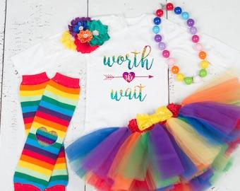 RAINBOW BABY Worth the Wait Tutu Set, Rainbow Tutu Outfit, Colorful Rainbow Baby Outfit, Multicolor Tutu Set, Worth the Wait Rainbow Outfit