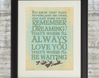 Peter Pan Nursery, Remember Dreaming, I'll Always Love you, That's Where I'll be Waiting - 8x10 Nursery Art Print, Neverland Series
