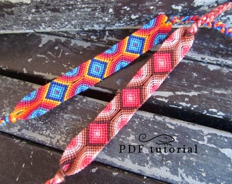Friendship Bracelet Pattern, Friendship Bracelet Tutorial 'Geometrically', Bracelet Tutorial, Friendship Bracelet PDF, Bracelet PDF File DIY