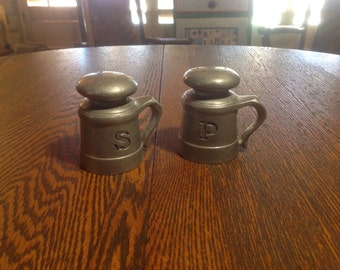 Vintage souvenir pewter  salt and pepper shakers with handles- Country Ware