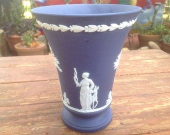 Vintage dark blue Wedgwood Jasperware Arcadian footed vase