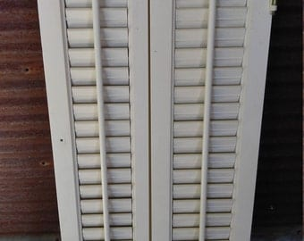 Set of 2 Wood Shutters - off white as is