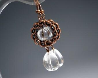 Clear Quartz Earrings, Dangle Copper Crystal Earrings