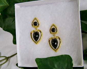 Vintage Trifari Gold Black Stone Dangle Heart Post Earrings