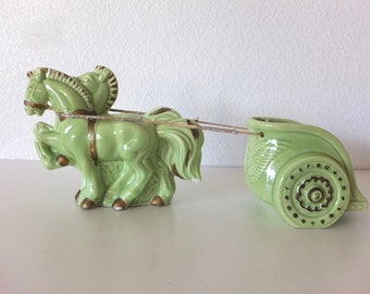 Vintage 1951 Le Bow of Claif Horse Chariot Planter- Free Shipping