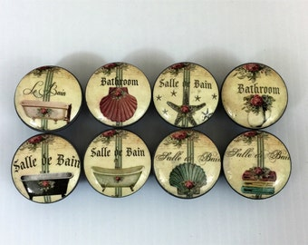 Set of 8 Salle De Bain  French Bathroom Cabinet Knobs