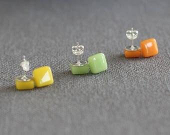 Bright Tones Earrings Set - Glass Stud Sterling Silver Earrings Set - Yellow\Green\Orange - Gift for her - Gift for Mum - UK Seller