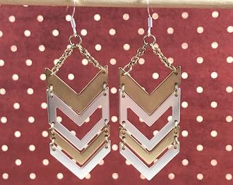 Gold and Silver Chevron Dangle Drop Earrings