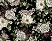 Garden Fabric, Large floral Fabric - Salon Fleur by Studio Frivolite for Studio e -  3633 99 Black - Priced by the 1/2 yard