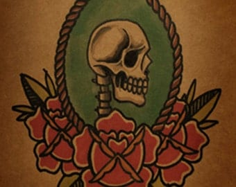 Old School Skull and Roses By thebrokenpuppet
