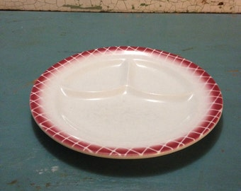 Vintage Restaurant Ware Divided Dinner Plate Caribe China Maroon Checkered Edge