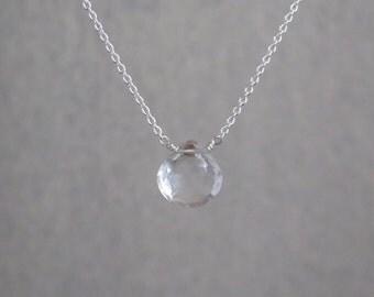 Clear Quartz Necklace - April Birthstone - Sterling Silver