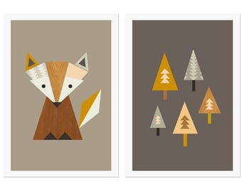 Little Fox Nursery Art, Fox in The Woods Series of Two prints, Art Fox, Kids Room Art, Scandinavian, Modern Nursery Art, Fox nursery,Kid art