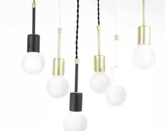 Pendant Light Hanging Lighting concrete canopy brass finish