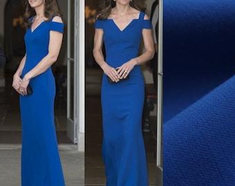 Kate Middleton Evening Gown/ Dress/ Maxi dress/ Nansen dress/ Blue/ Custom made gown/ wedding dress/minimalist/Roland Mouret/ Italian fabric
