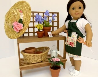 Doll POTTING TABLE Collection Handcrafted for 18 Inch dolls such as American Girl®  Potting Table, Pots, Plants and more!