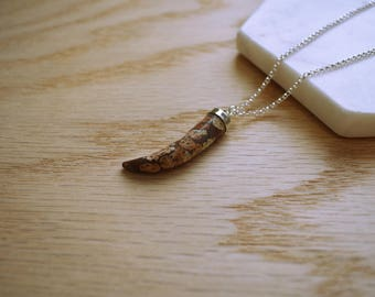 s a v a n n a h . Claw necklace. Jasper stone pendant on long sterling silver chain. Simple minimal boho necklace.