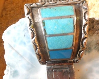 Turquoise and Sterling Silver Watch Band
