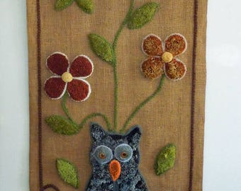 Vintage Owl and Flowers Shag Rug Wall Hanging