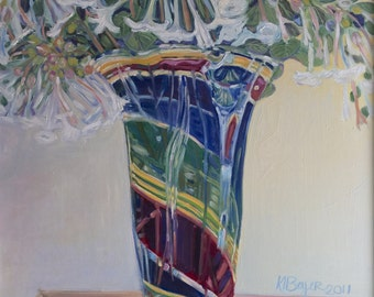 Nicotiana in Rainbow Glass Vase