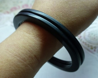 Set of TWO Bakelite Bangles, Art Deco, Navy Blue Color, Excellent Condition Wearable Size, 1930s