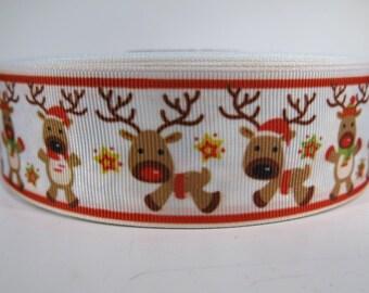 """5 yards of 1.5 inch """"Reindeer"""" grosgrain ribbon"""