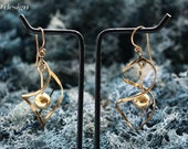 Brass dangle ball earrings