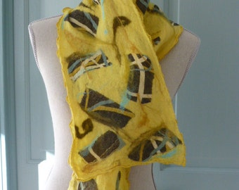 Vibrant Yellow Nuno-felted scarf
