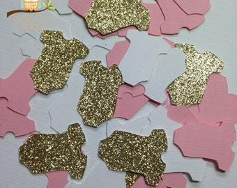 Baby Shower Confetti ~ Gold Glitter, Pink & White Onesie Confetti, Baby Girl Baby Shower Decorations, Table Scatter, Onesie Party Decor