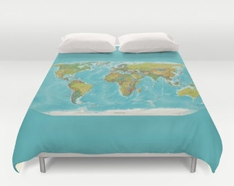 World Map Duvet Cover - bed - modern map, turquoise,    current world map - bedroom, travel decor, cozy soft