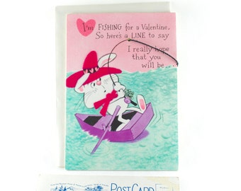 1960s Unsigned Flocked Valentine's Card with Original Envelope; Vintage Gibson Valentine Fisherman's Card