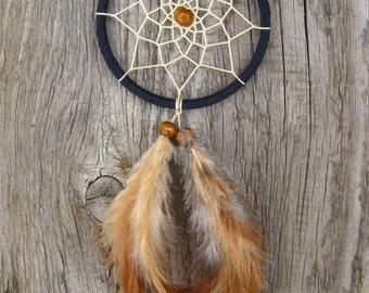 Dark Blue Car Dream Catcher // Small Dark Blue Dream Catcher // Rear Mirror Dreamcatcher //Native American Hanging