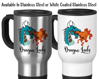 Travel Mug, Dragon Lady, Dragon Fire, Dragon Design, Fire Breathing Dragon Before Coffee, Boss Lady, Stainless Steel, 14 oz - Gift Idea